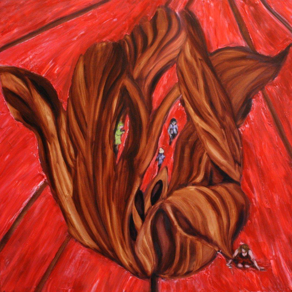 Olieverf schilderij, Tulp in bollenveld, 80 x 80 cm