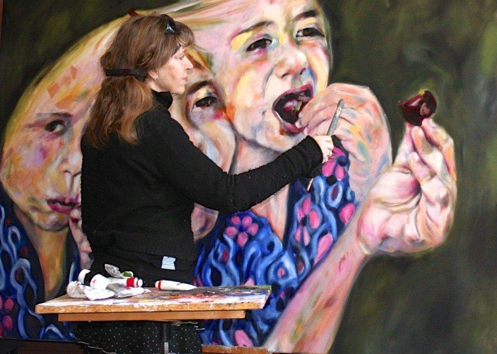 Schilderen aan, Meisje in de kersenboomgaard