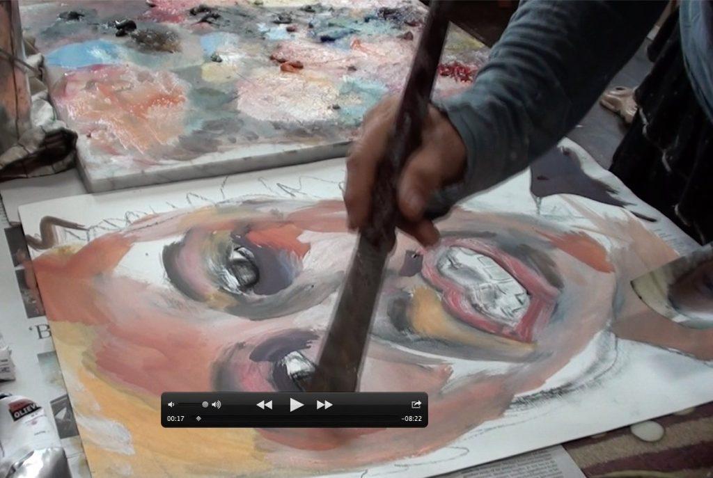 video van het schilderen van Robin