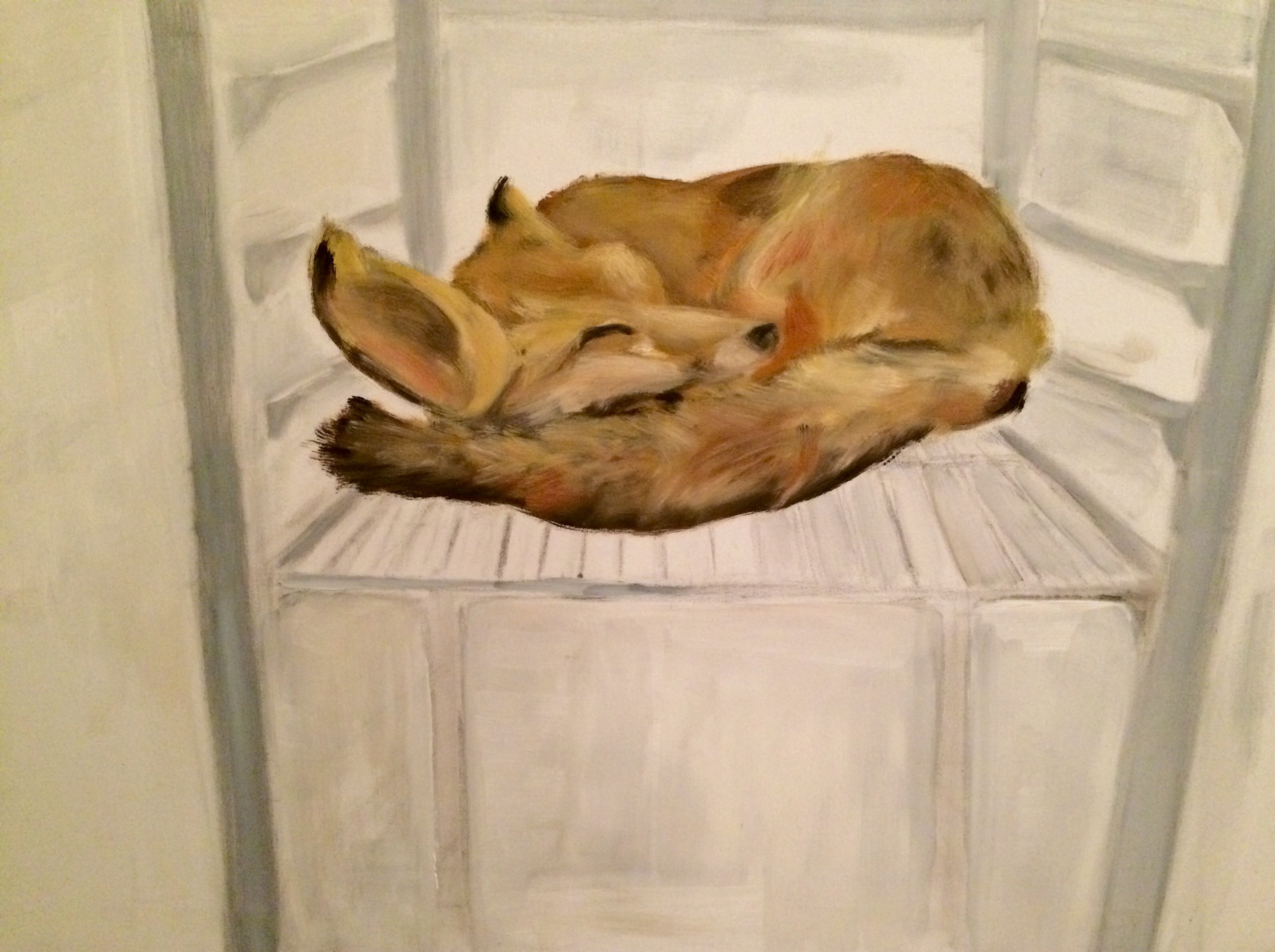 Stilleven, vosje in koelkast, olieverf schilderij
