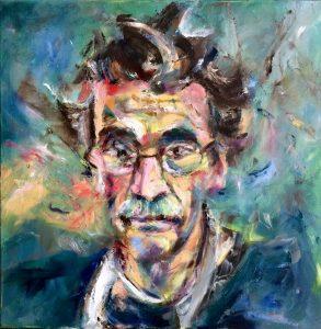 Portret van Han Prins, olieverf schilderij op doek, 50 x 50 cm