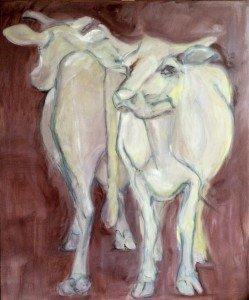 Kijk een Koe olieverf schilderij, afb. 4