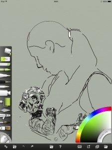 Lust voor het oog, rechter paneel, 1. iPad tekening