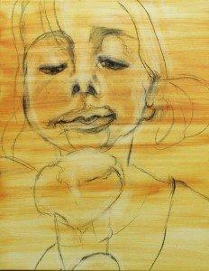 Het meisje met het ijsje, olieverf schilderij, opzet