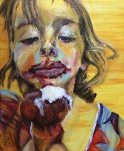 Het meisje met het ijsje, olieverf op doek, 50 x 60 cm