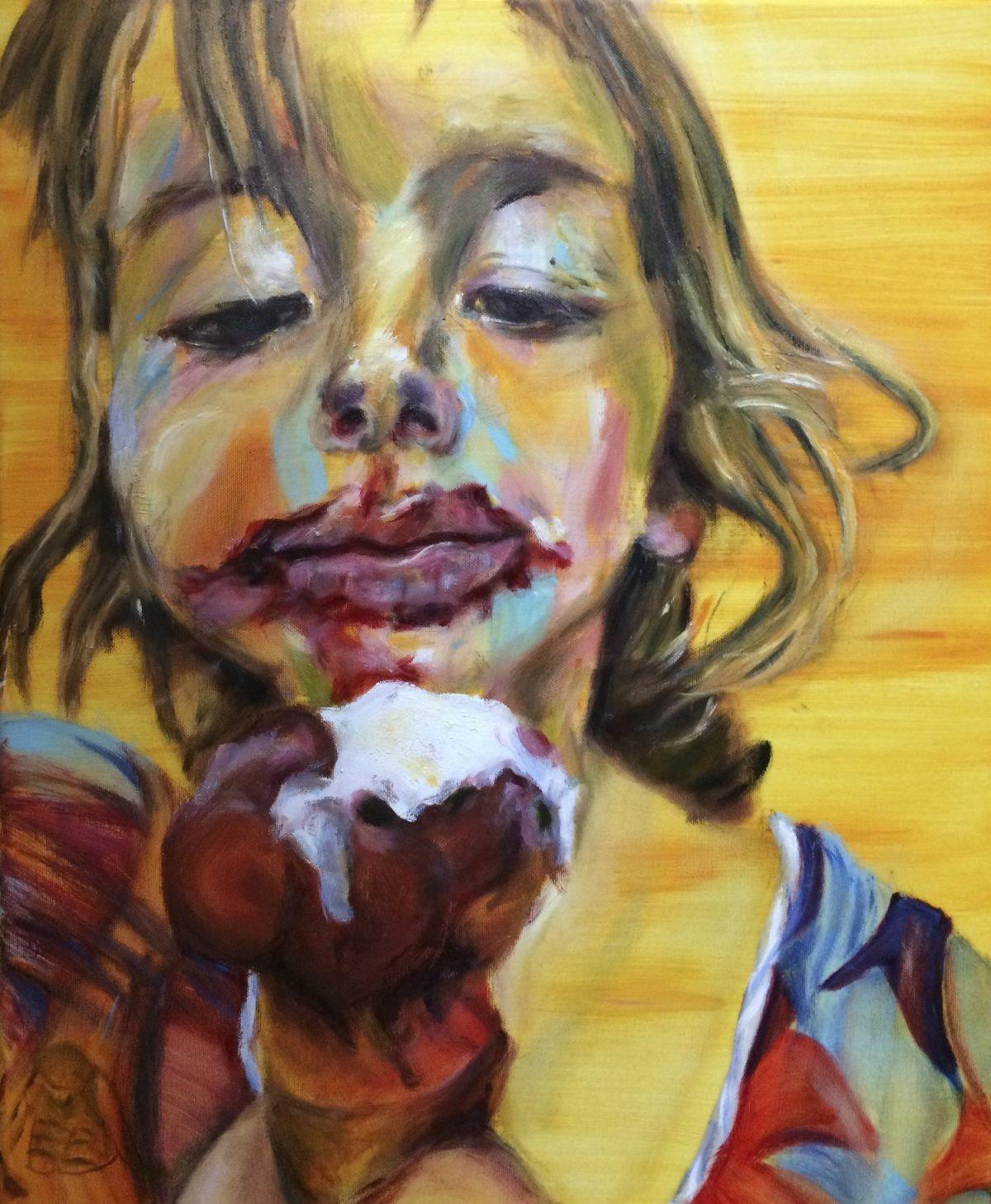 Portretten. Portret 'Het meisje met het ijsje', olieverf schilderij