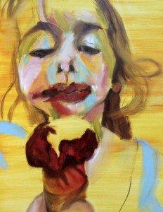 Het meisje met het ijsje, olieverf schilderij 2.