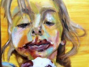 Het meisje met het ijsje, olieverf schilderij 3.