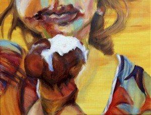 Het meisje met het ijsje, olieverf schilderij 6.