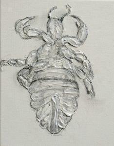 Een fossiel van een luis, met gel