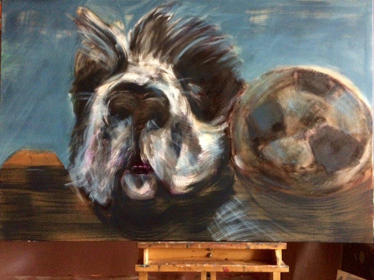 Stilleven schilderij van Paparazzi met bal