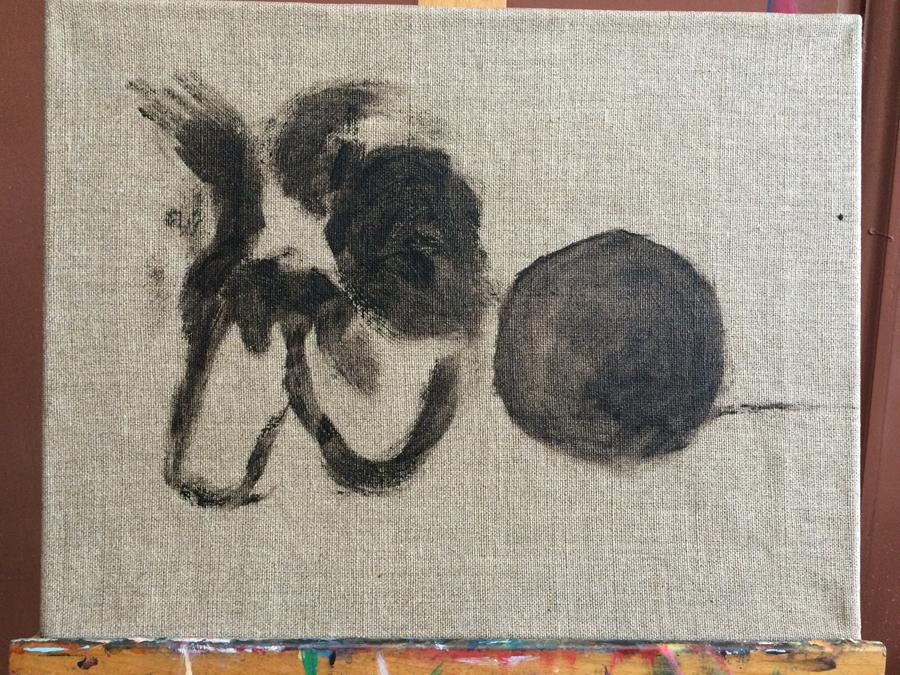 Stilleven schilderij van Paparazzi met bal. Onze hond is geschilderd in de olie eitempera techniek en is 120x80cm groot.