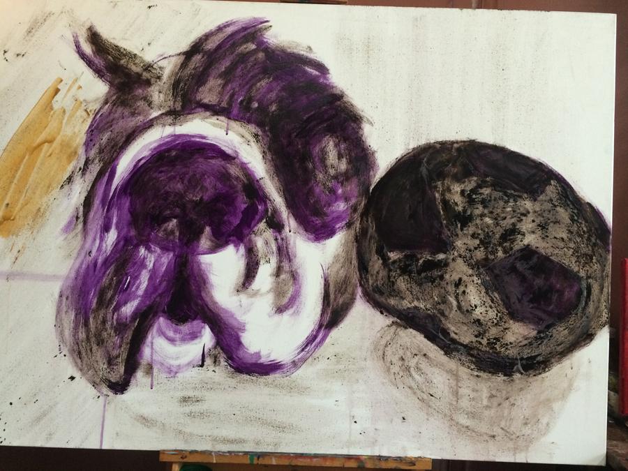 Stilleven olie ei tempera schilderij van Paparazzi met bal. Onze hond is geschilderd in de olie eitempera techniek en is 120x80cm groot.