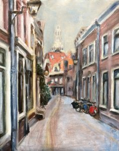 Plein air. Korte Begijnestraat in Haarlem geschilderd