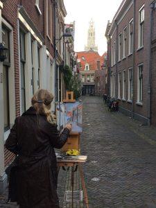 Plein air-de-korte-begijnestraat-schilderen