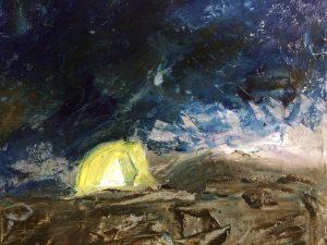 Alla Prima. Nat in nat schilderen. Tentje in de sneeuw. Plein air geschilderd en Sgraffito