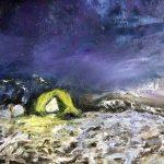 Plein air schilderijen. Tentje in de sneeuw