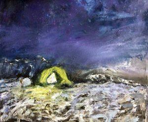 Tentje in de sneeuw, olieverf op papier 40 x 35 cm. Ella Looise