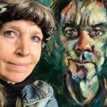 Schilderlessen foto's. ellalooise.com zelfportret met schilderij 'portret van koos'
