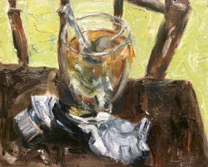Atelier tafereeltje, olieverf op canvas board, 30 x 24cm