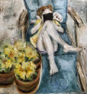 Olieverf schilderij. Het meisje met de iPad en violen. Een instructief artikel gepubliceerd in Atelier magazine