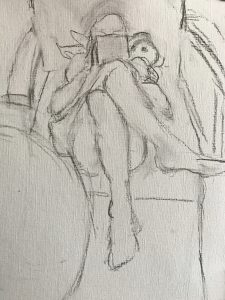 Het meisje met de iPad en violen schilderen