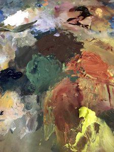 Rocker, onze hond schilderen, palet kleuren