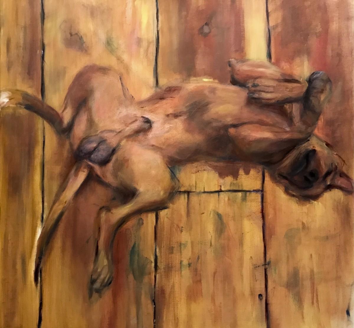 Rocker, onze hond schilderen in zijn favoriete houding op de grond