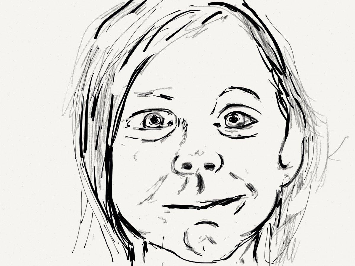 Portret van Lovis op de iPad geschilderd