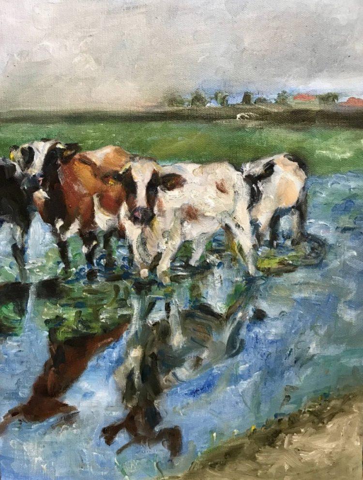 Koeien met verschillende kwaststreken geschilderd