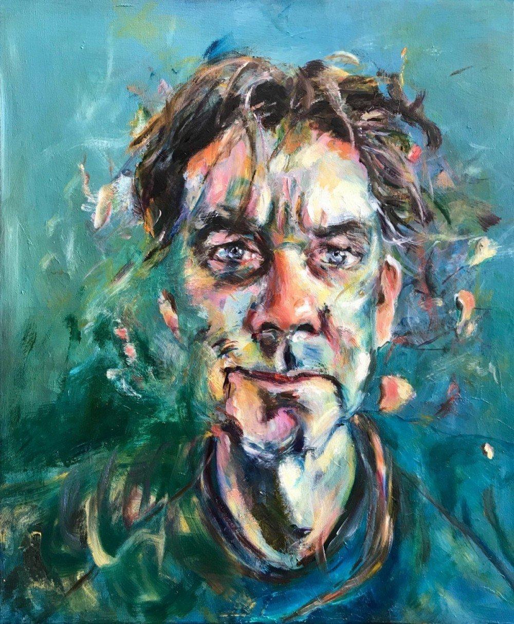 Portretten. Portret van Koos. Olieverf schilderij, 50 x 60 cm