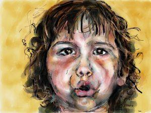 Digitaal tekenen op de iPad. Meisje met een groot verhaal. Portret van Dide