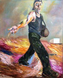 De Zaaier naar Van Gogh geschilderd. Olieverf schilderij