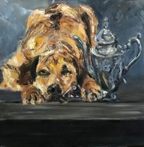 Stilleven van hond en kan, een olieverf schilderij