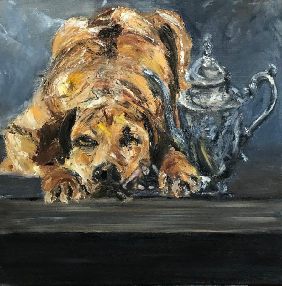 Hond met koffiekan. Stillevens schilderijen
