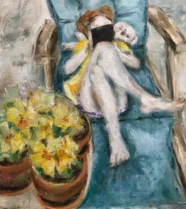 Olieverf schilderij, Het meisje met de iPad