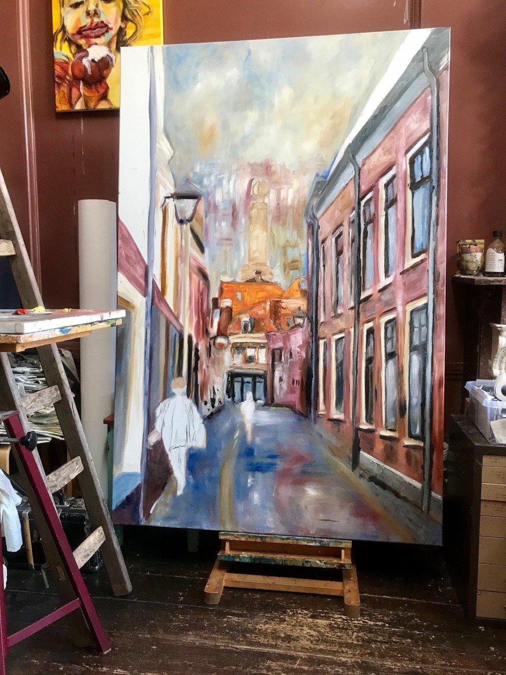 Schilderen aan de Korte Begijnestraat. Foto2