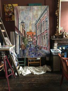 Op het atelier, schilderen aan de Korte Begijnestraat 120 x 180 cm