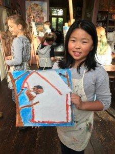 Vandaag op de schilderlessen. Viola met haar vogelhuis en vogels