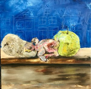 Kip patat appelmoes schilderij