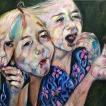 Olieverf schilderij. Het meisje in de kersenboomgaard. Genrestukken
