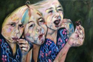 Olieverf schilderij. Het meisje in de kersenboomgaard, drie momenten dat ze de kers eet