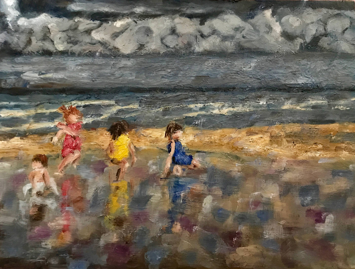Olieverf schilderij Vier kinderen op het strand