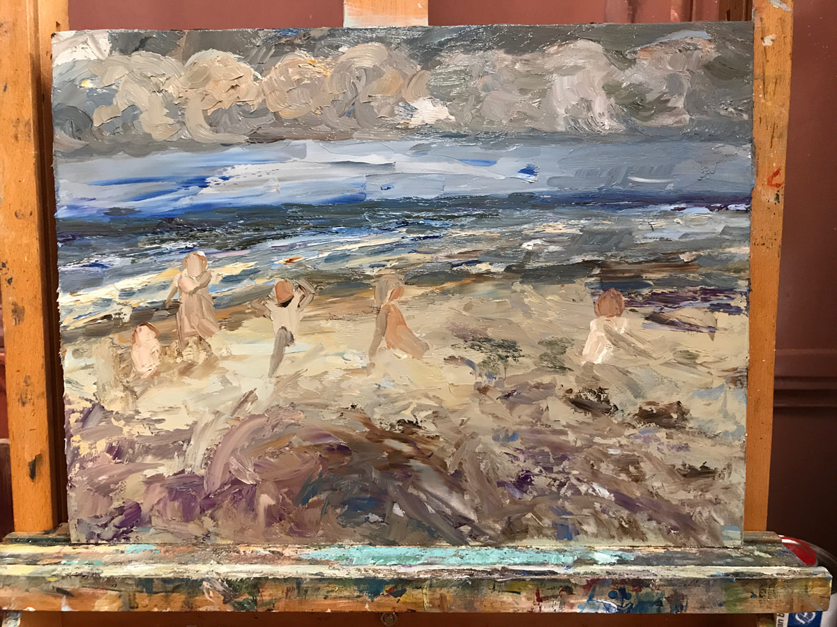 Opzet zeegezicht olieverf schilderij