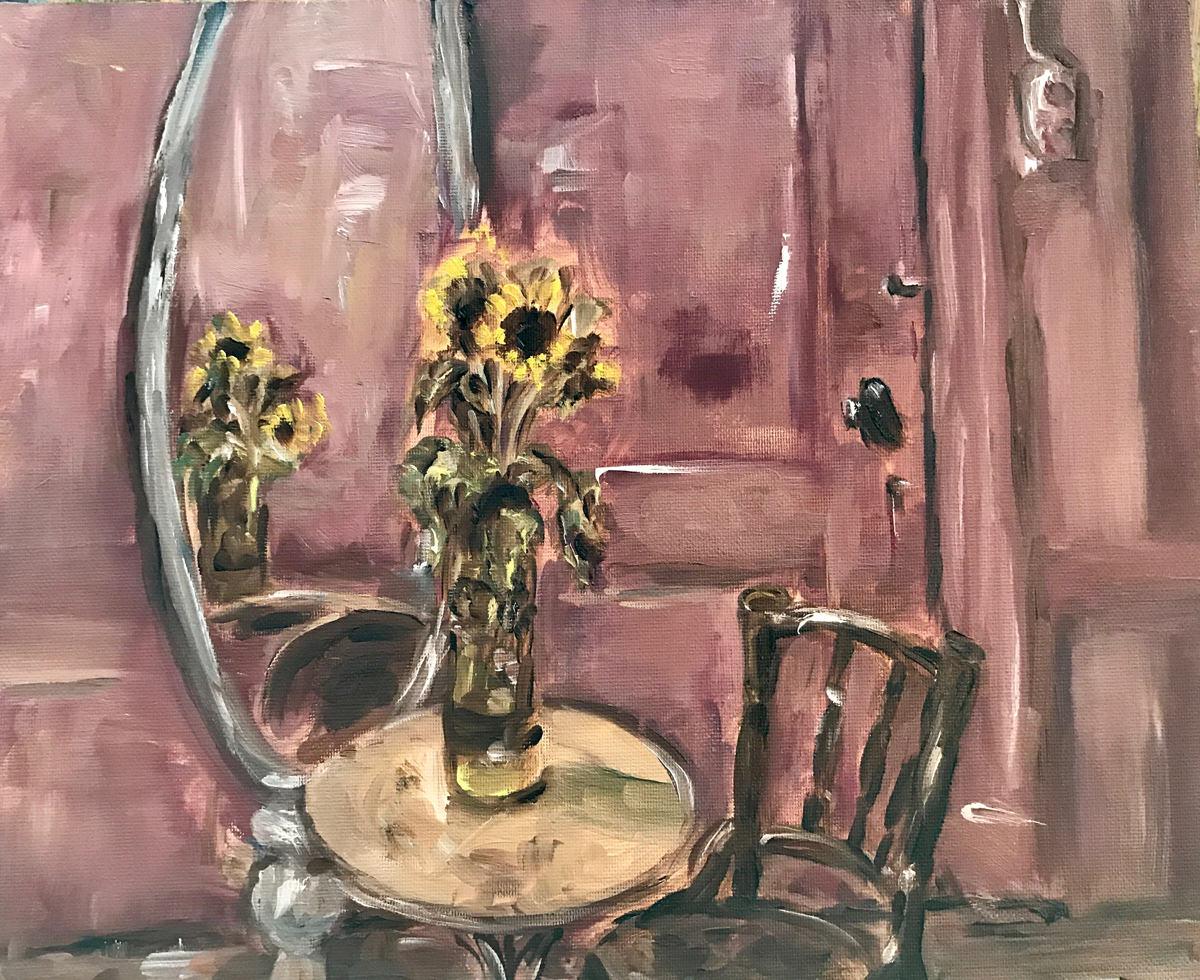 Genrestukken. Interieur met zonnebloemen in mijn zelfgemaakte vaas, olieverf schilderij