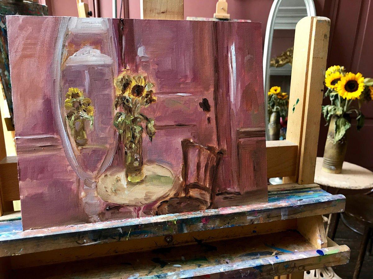 Stilleven zonnebloemen in mijn zelfgemaakte vaas, eerste fase