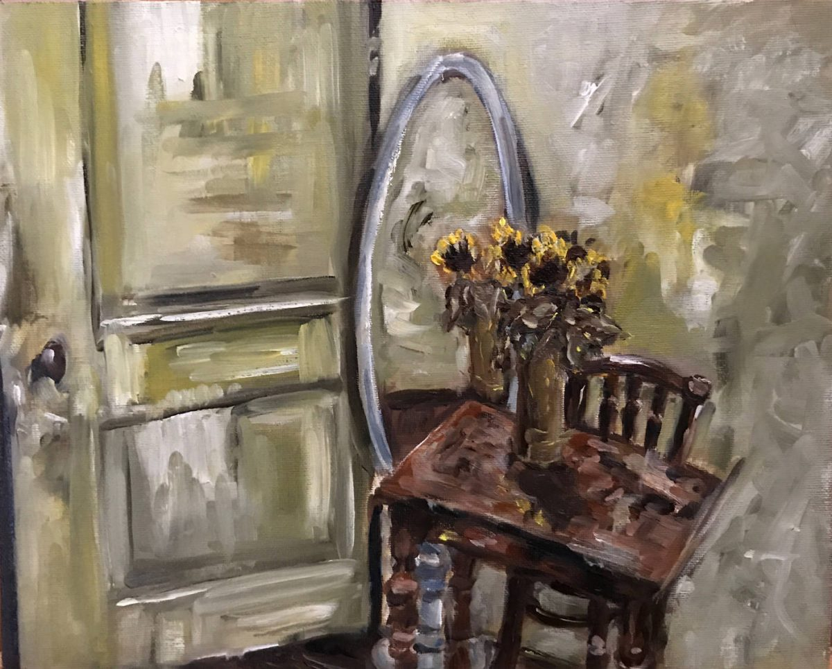 Stillevens. Olieverf schilderij zonnebloemen stilleven met groene deur en muur