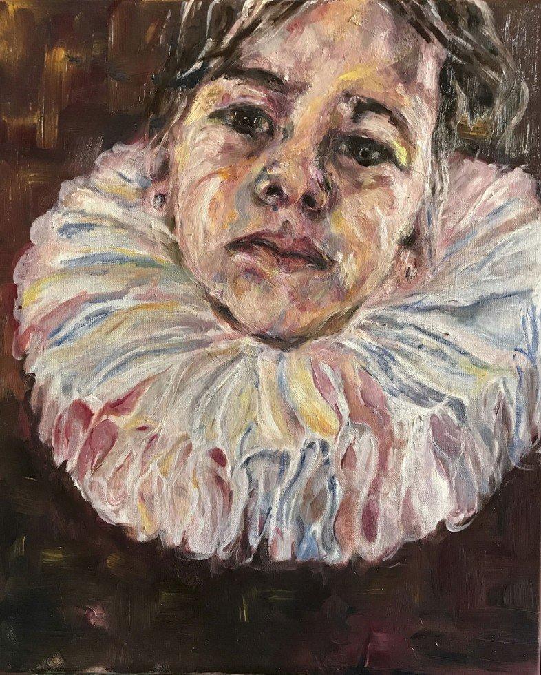 Olieverf schilderij; een dochter voor Frans Hals