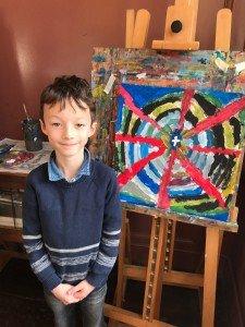 Vandaag op de schilderlessen. Frederik met zijn vlag