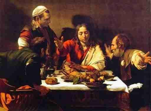Caravaggio, de Emmausgangers, schilderij clair obscur